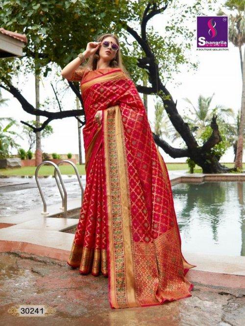 red silk fabric weaving work wedding
