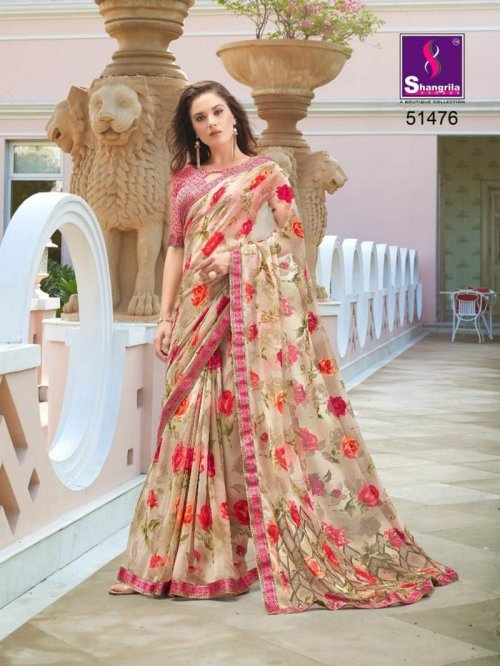 butter cream pure georgette fabric fancy print work party