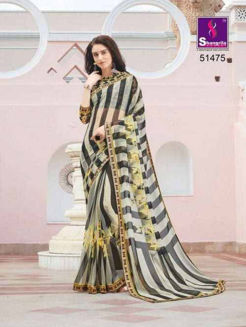 black with cream pure georgette fabric fancy print work party