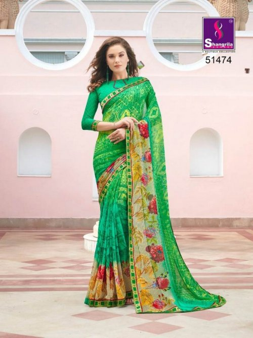 light green pure georgette fabric fancy print work party
