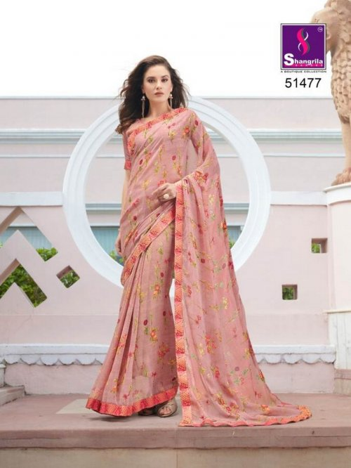 punch pink pure georgette fabric fancy print work party