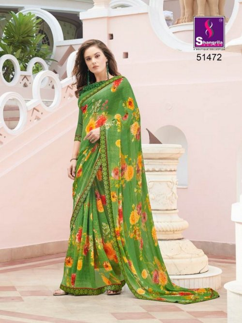parrot pure georgette fabric fancy print work party