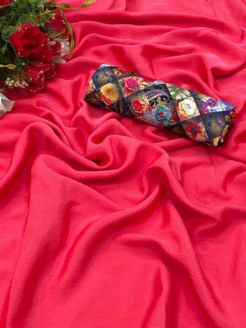 candy pink chiffon fabric plain work party