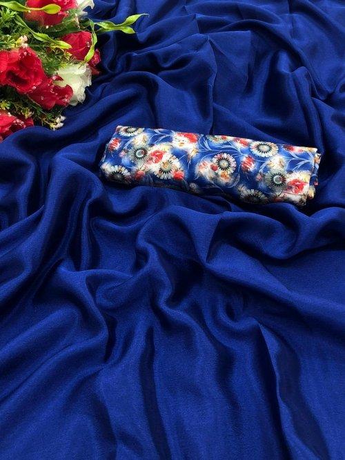 royal blue chiffon fabric plain work party