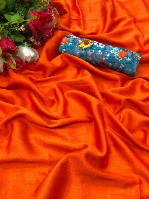 orange chiffon fabric plain work party