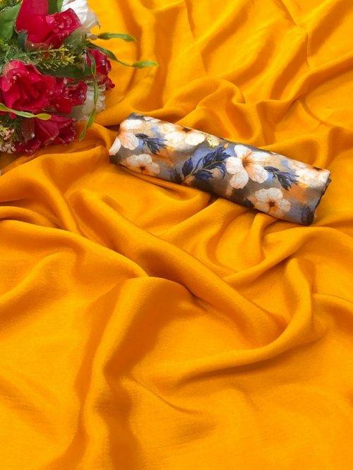 yellow chiffon fabric plain work party