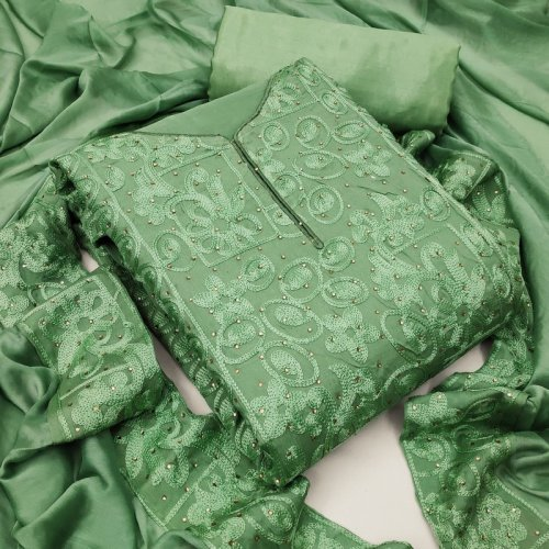 light green heavy chinon fabric embroidery work casual