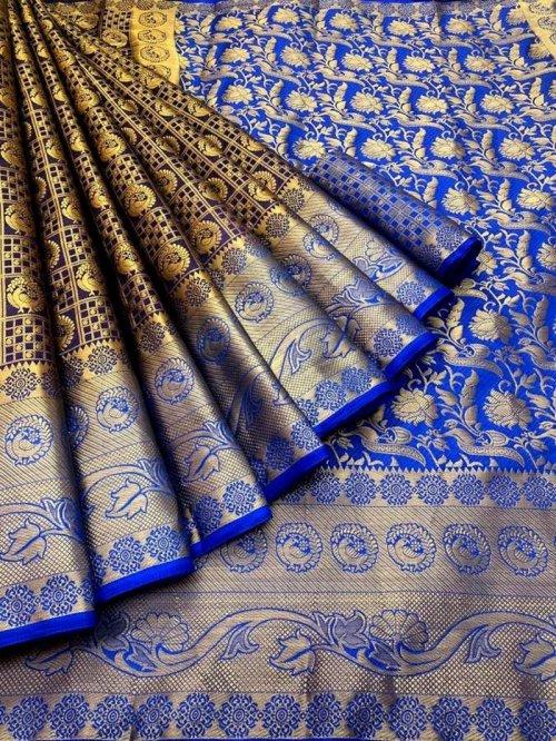 blue pure banarasi soft silk fabric weaving work festival