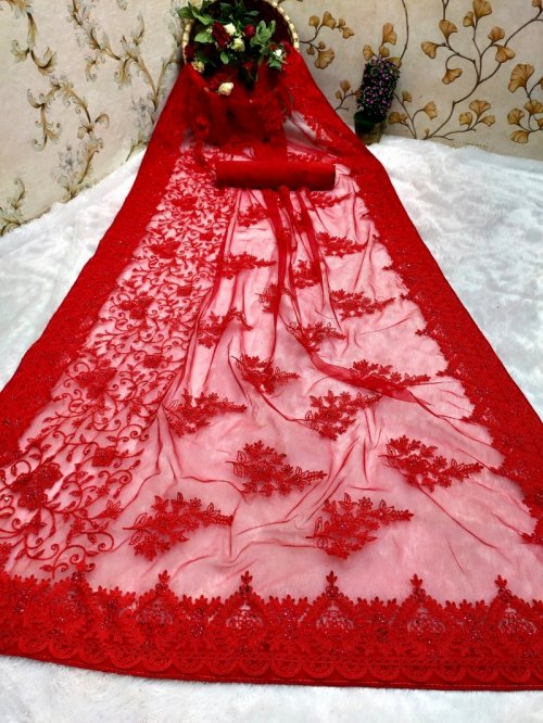 red nylon net fabric embroidery work festival