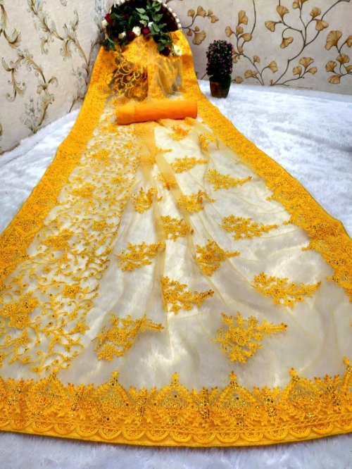 yellow nylon net fabric embroidery work festival