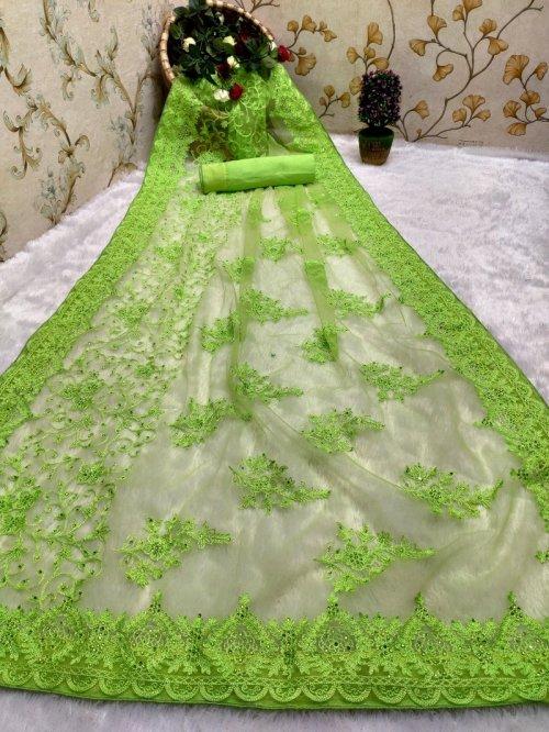 pista nylon net fabric embroidery work festival