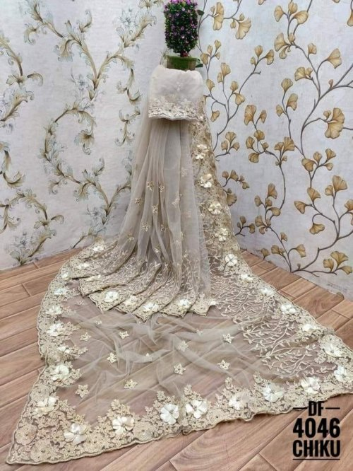 off white soft net fabric fancy work work party