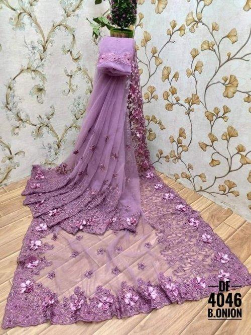 purple soft net fabric fancy work work party