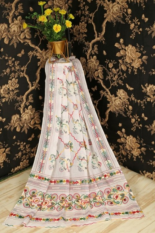 white cotton fabric embroidery work festival
