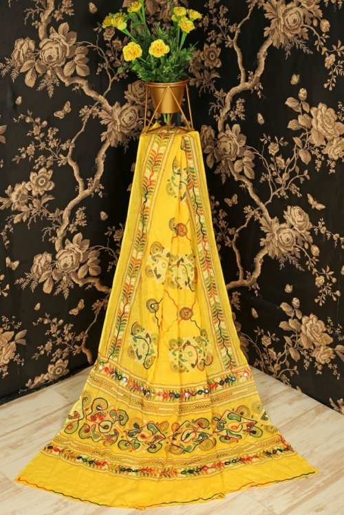 yellow cotton fabric embroidery work festival